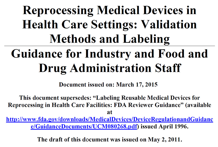 Reprocessing Medical Devices in Health Care Settings