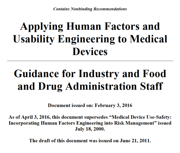 Applying Human Factors and Usability Engineering to Medical Devices